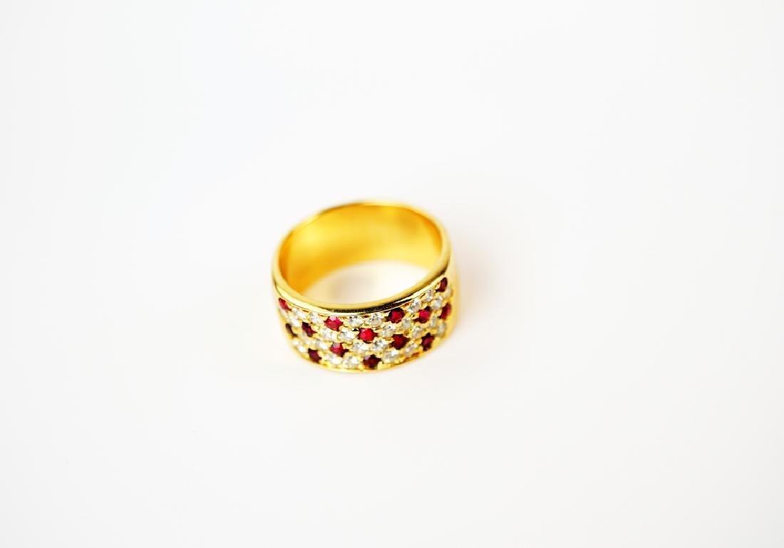 18K YELLOW GOLD DIAMOND & RUBY RING - 2
