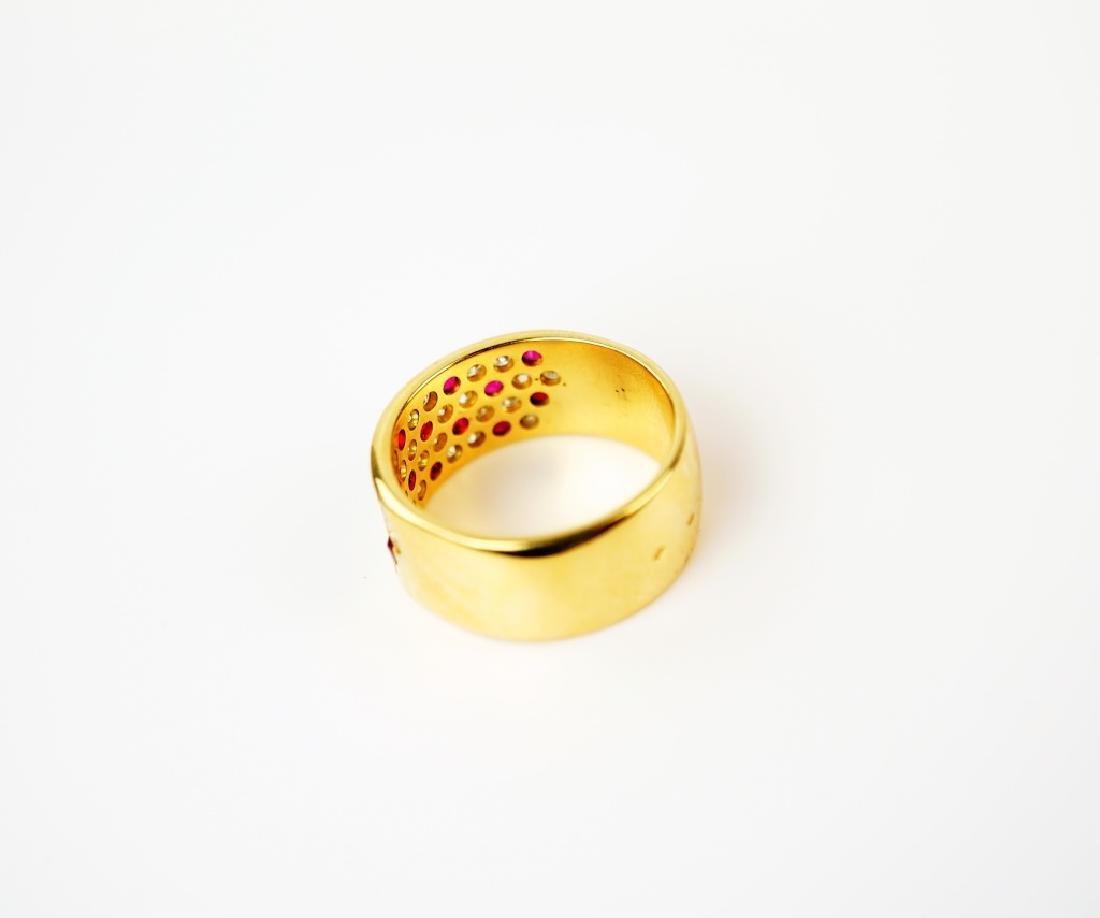 18K YELLOW GOLD DIAMOND & RUBY RING - 3