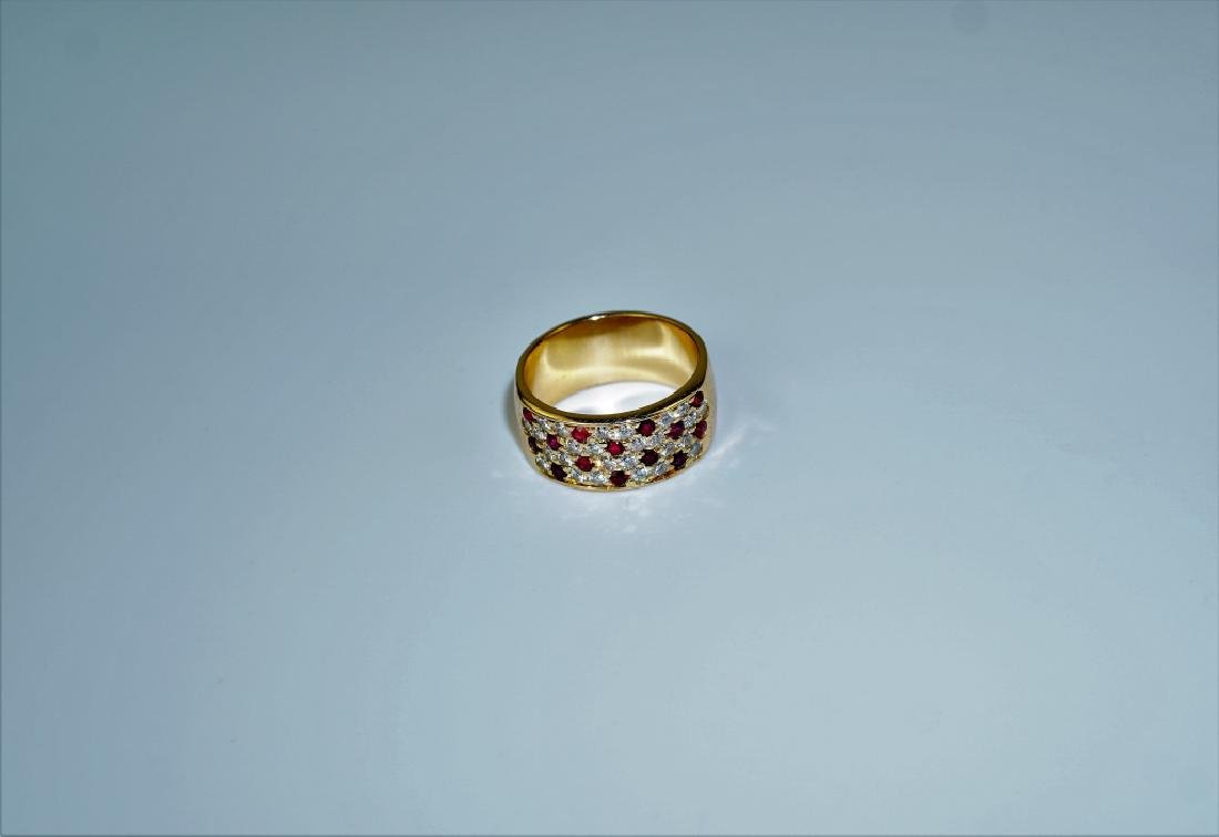 18K YELLOW GOLD DIAMOND & RUBY RING - 4