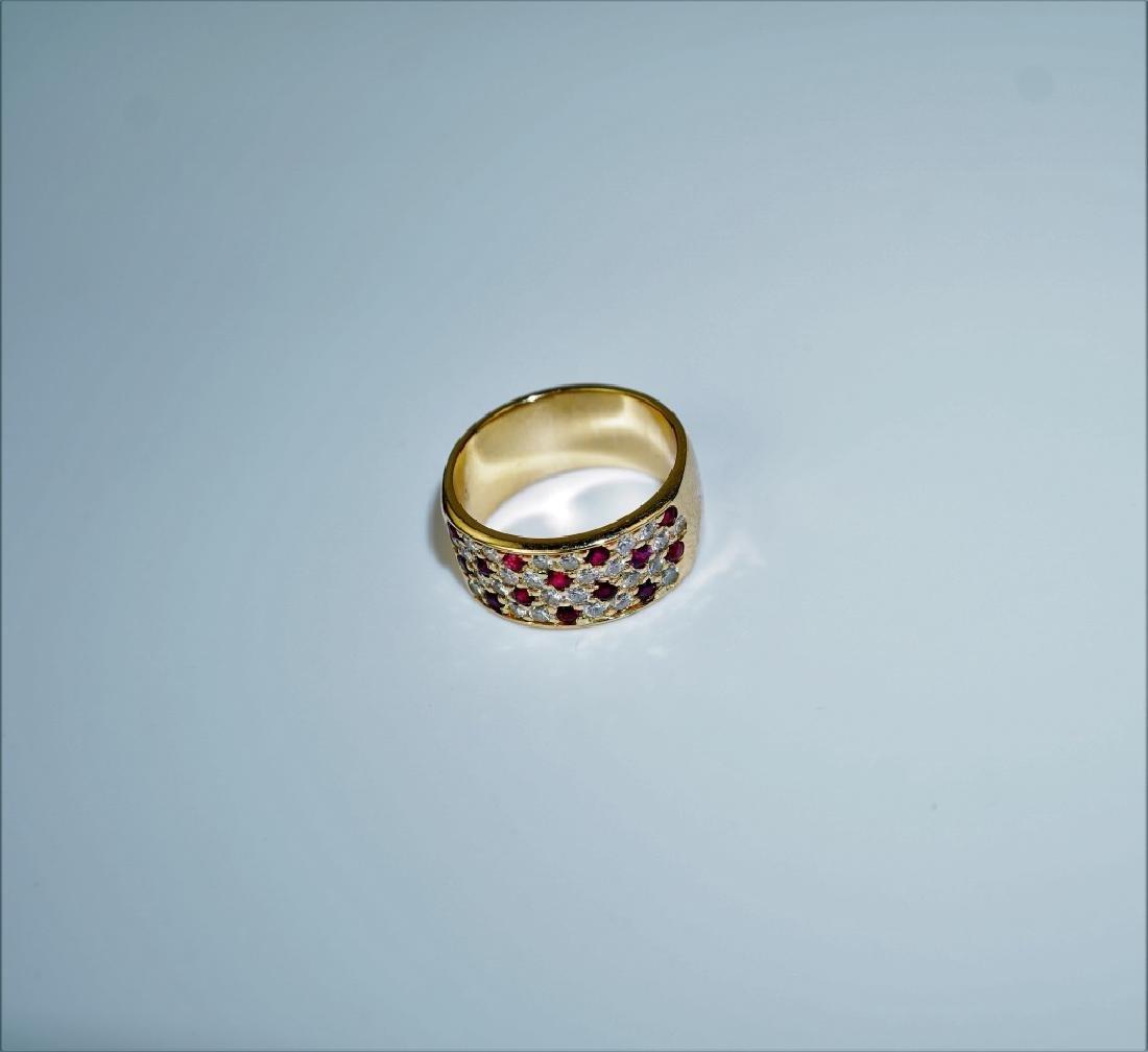 18K YELLOW GOLD DIAMOND & RUBY RING - 5