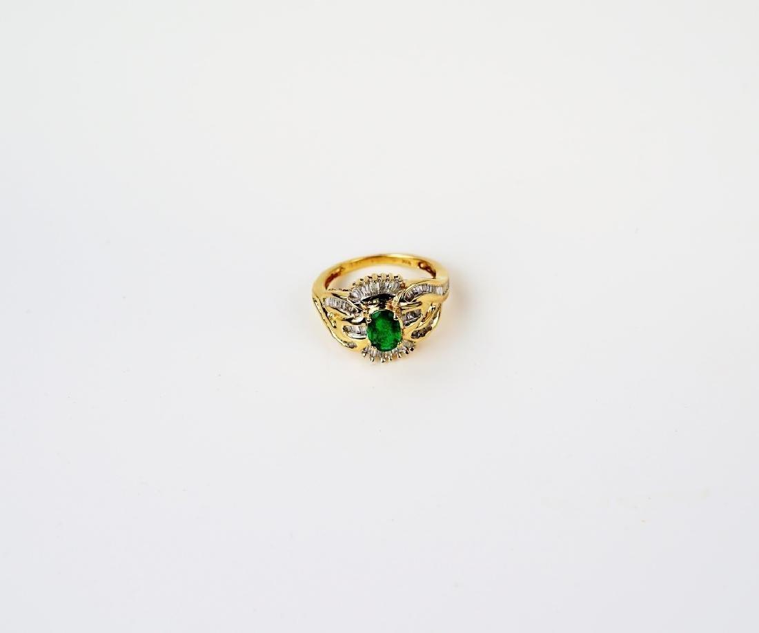 10K YELLOW GOLD EMERALD & DIAMOND RING - 2