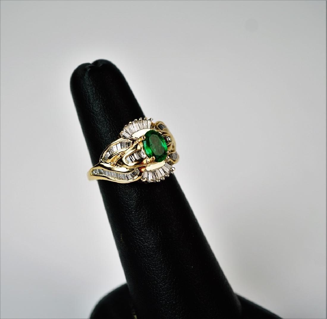 10K YELLOW GOLD EMERALD & DIAMOND RING - 3