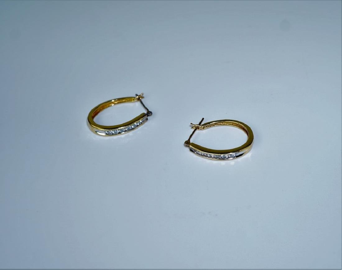 14K WHITE GOLD & DIAMOND HOOP EARRINGS