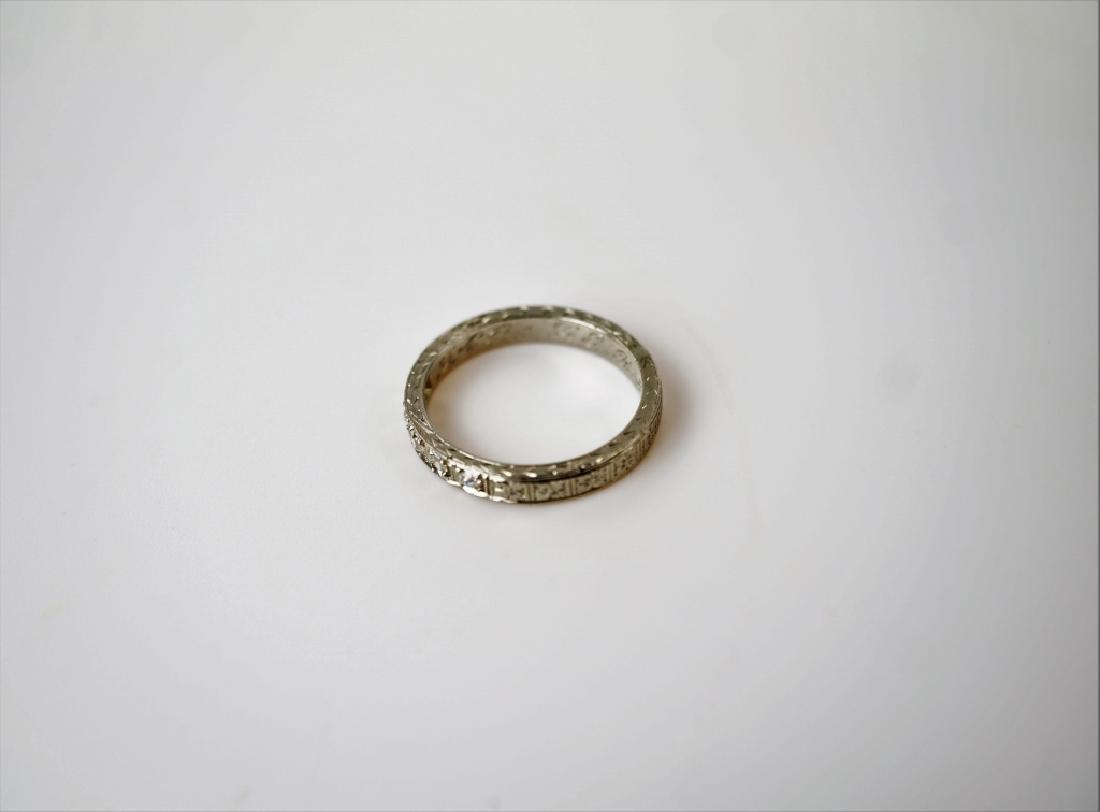 PLATINUM & DIAMOND DECO STYLE RING - 4