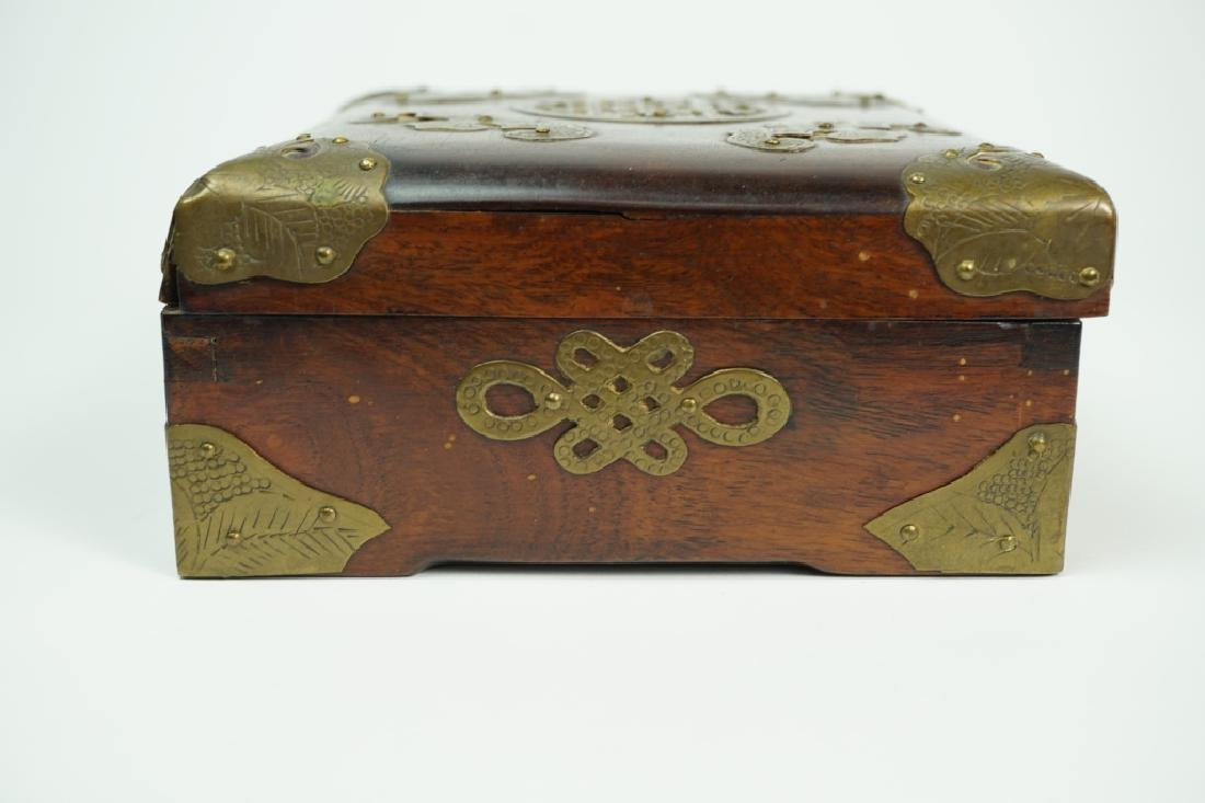 BRASS FITTED ROSEWOOD BOX - 4