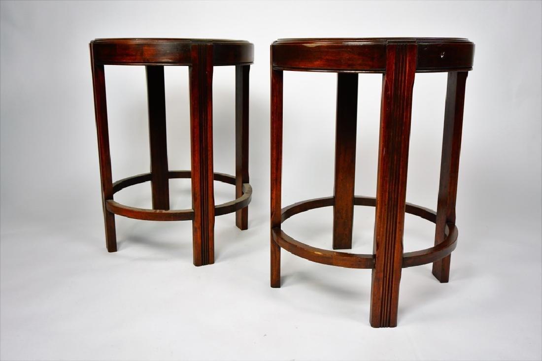 PAIR ROUND MAHOGANY SIDE TABLES