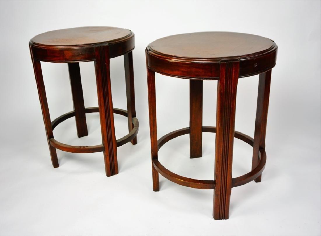 PAIR ROUND MAHOGANY SIDE TABLES - 2