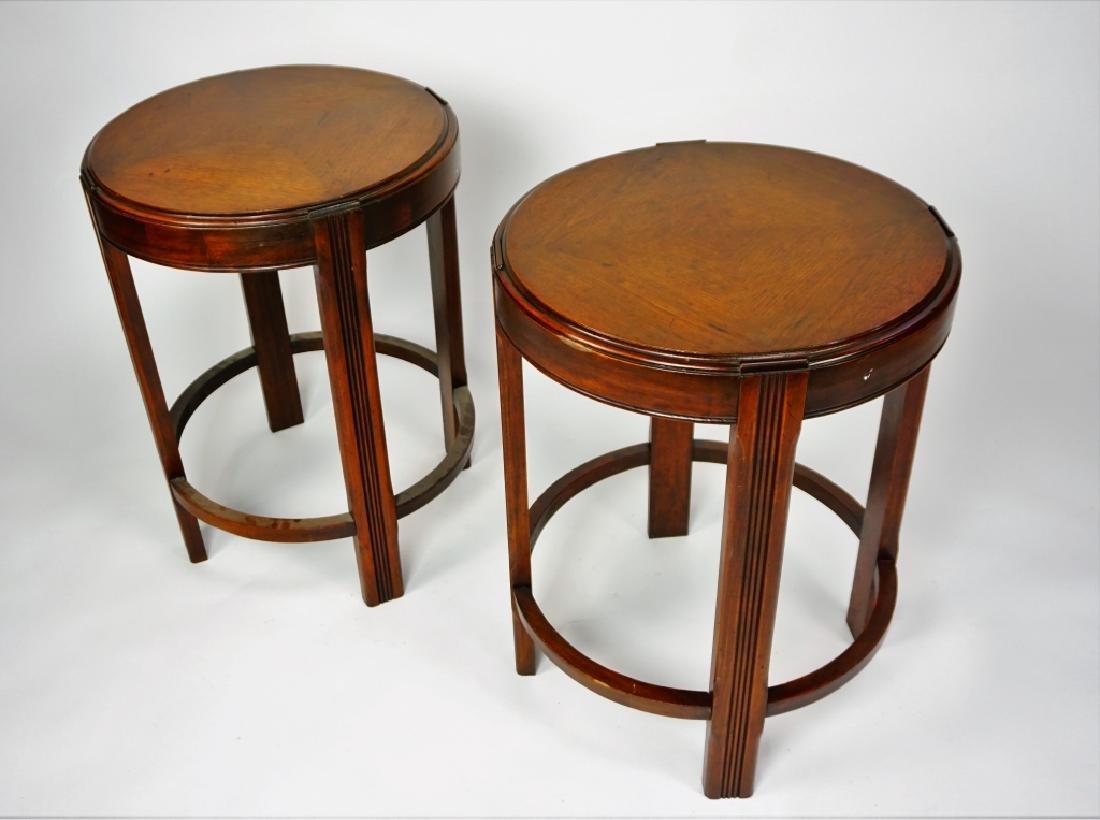 PAIR ROUND MAHOGANY SIDE TABLES - 3