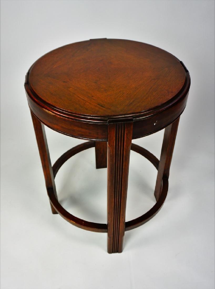 PAIR ROUND MAHOGANY SIDE TABLES - 7