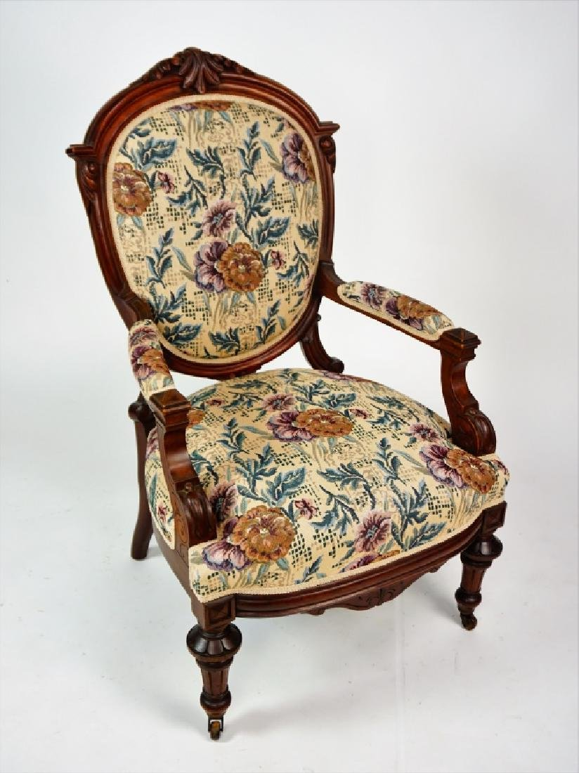 ANTIQUE VICTORIAN OPEN ARM CHAIR