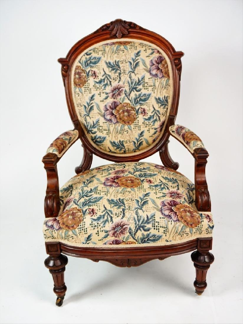 ANTIQUE VICTORIAN OPEN ARM CHAIR - 2