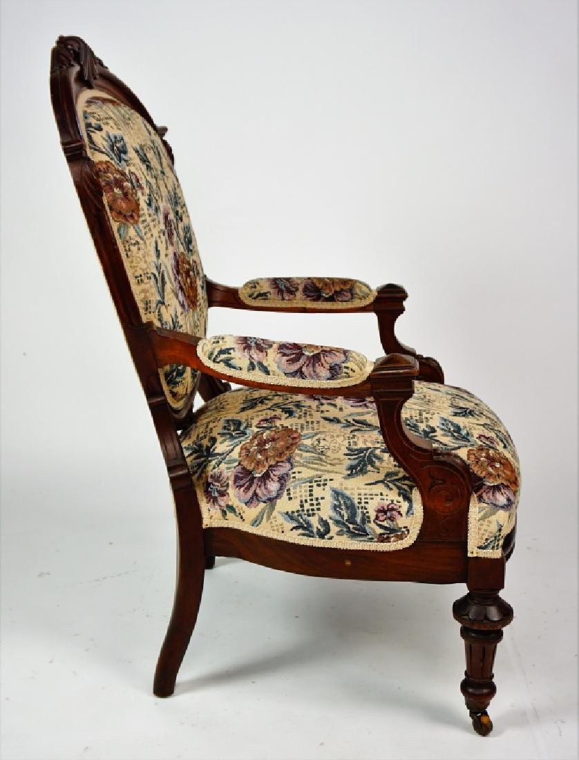 ANTIQUE VICTORIAN OPEN ARM CHAIR - 5