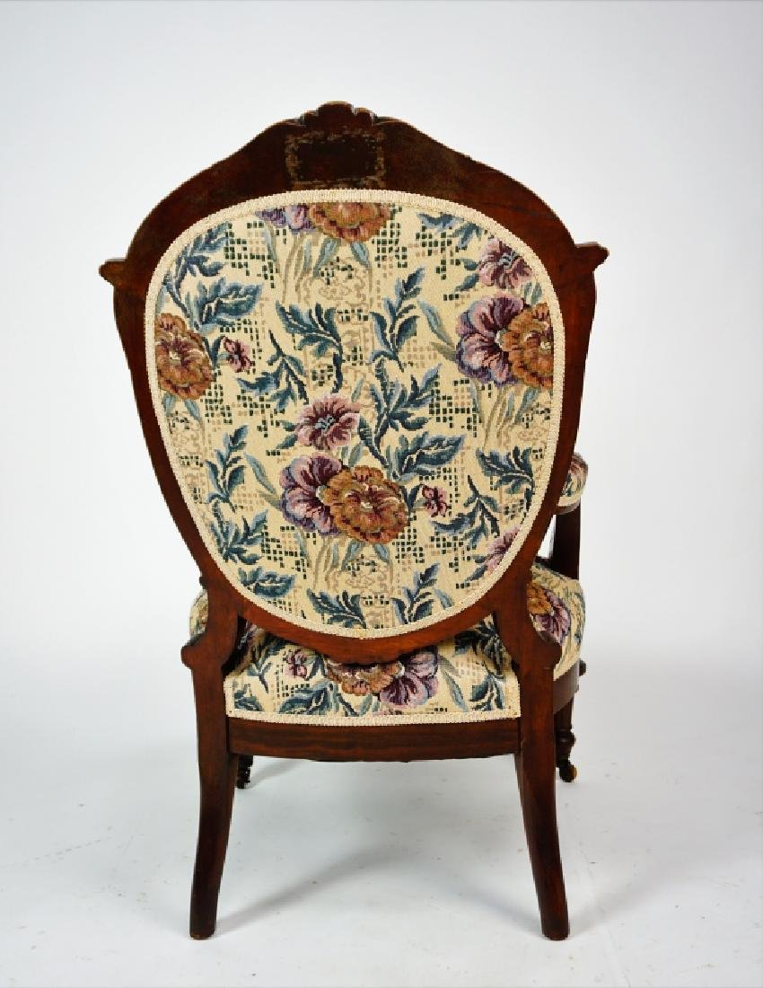 ANTIQUE VICTORIAN OPEN ARM CHAIR - 7
