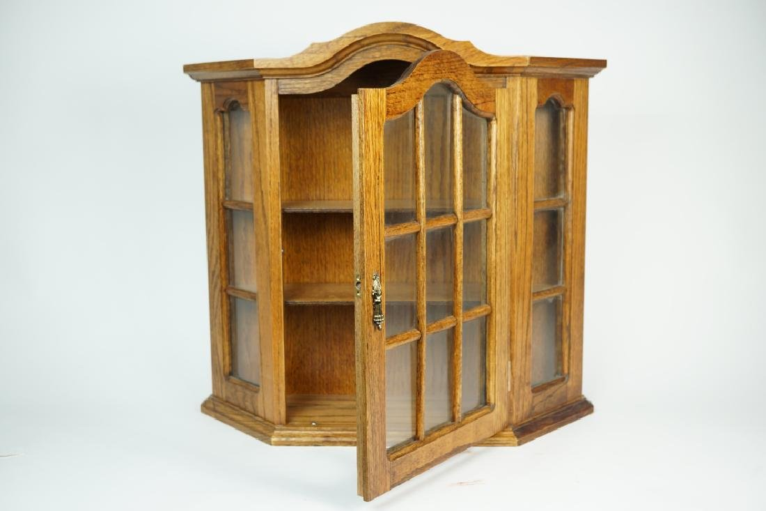 WALL MOUNT WOODEN CURIO CABINET - 3