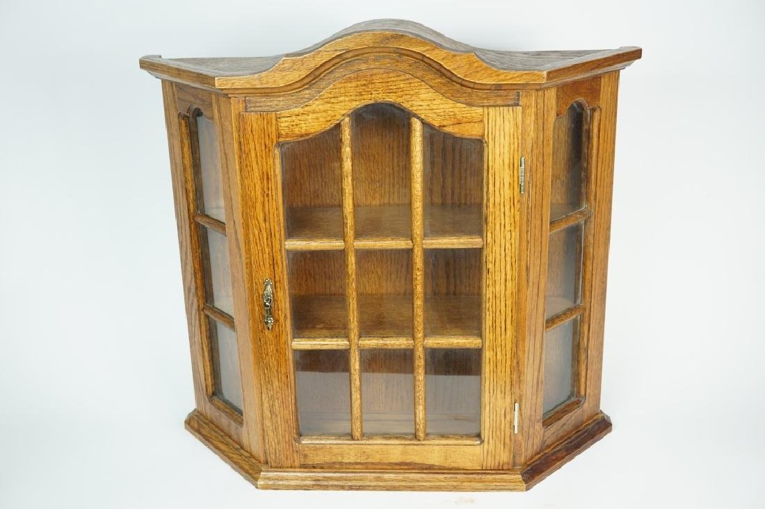 WALL MOUNT WOODEN CURIO CABINET - 4