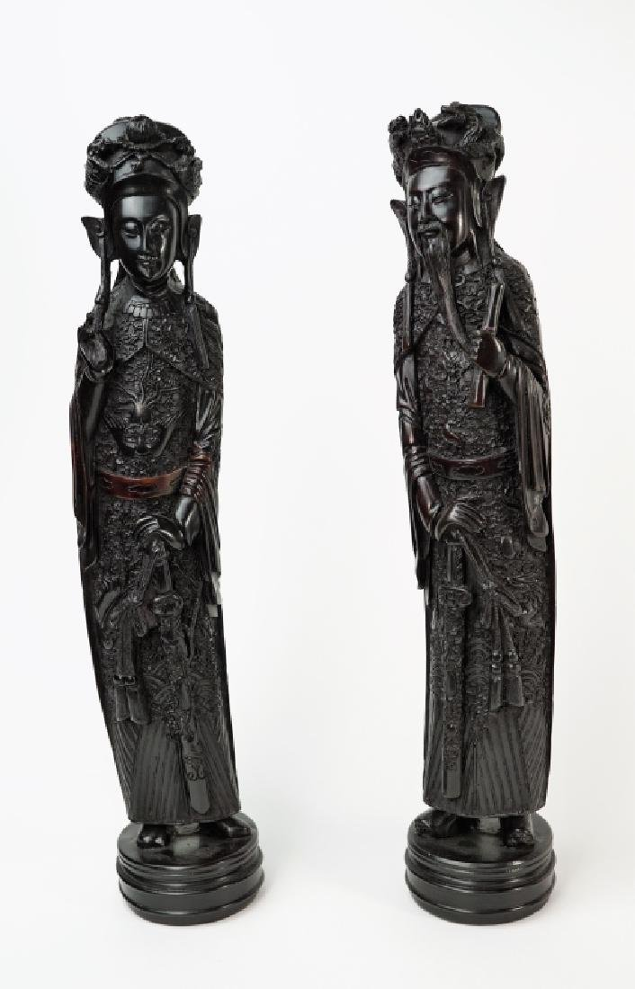 PAIR RESIN MALE & FEMALE ORIENTAL FIGURINES