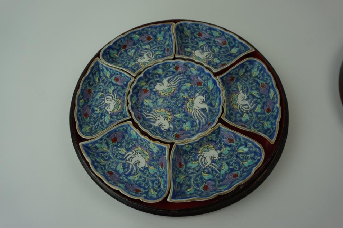 7pc ANTIQUE PORCELAIN SNACK DISH SET - 2