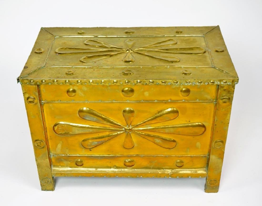 BRASS CLAD KINDLING BOX ANTIUQE