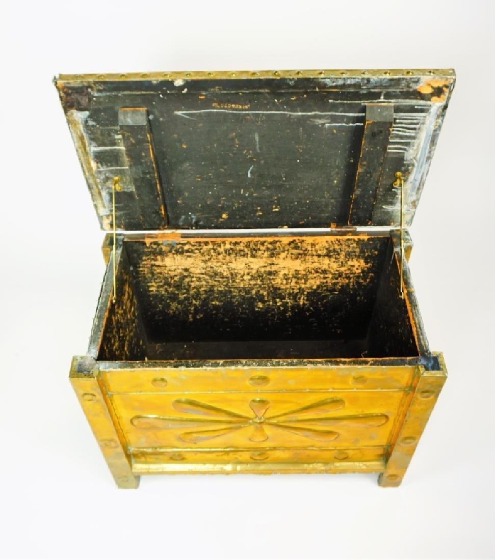BRASS CLAD KINDLING BOX ANTIUQE - 5