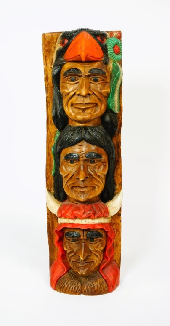 TOTEM POLE WITH THREE INDIAN HEADS