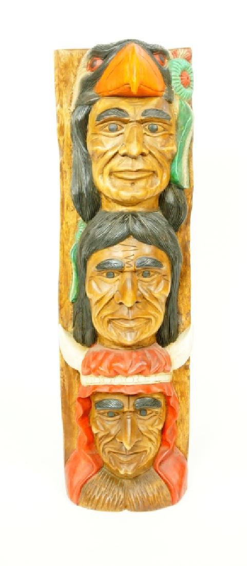 TOTEM POLE WITH THREE INDIAN HEADS - 2