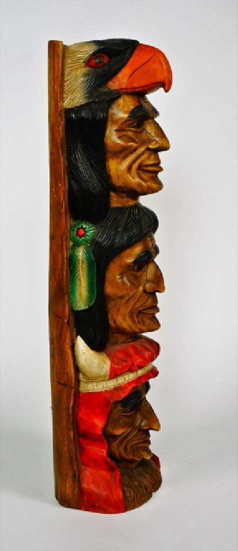 TOTEM POLE WITH THREE INDIAN HEADS - 3