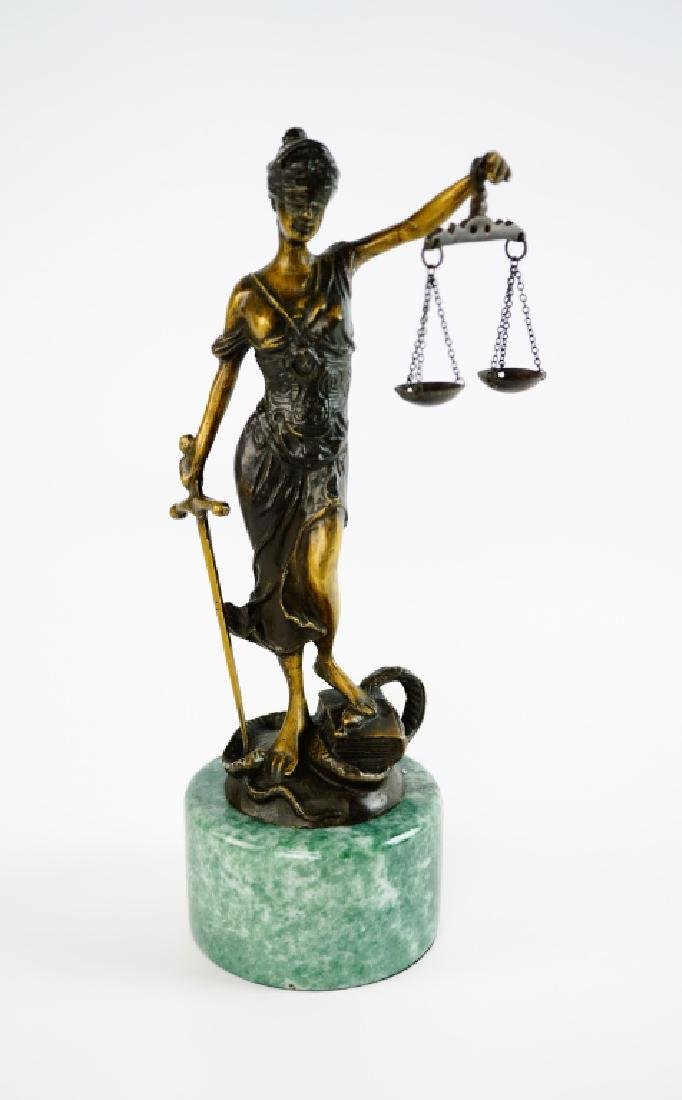 BRONZE LADY JUSTICE STATUE WITH MARBLE PLINTH