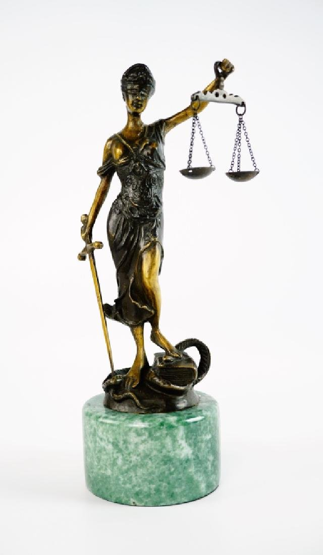 BRONZE LADY JUSTICE STATUE WITH MARBLE PLINTH - 2