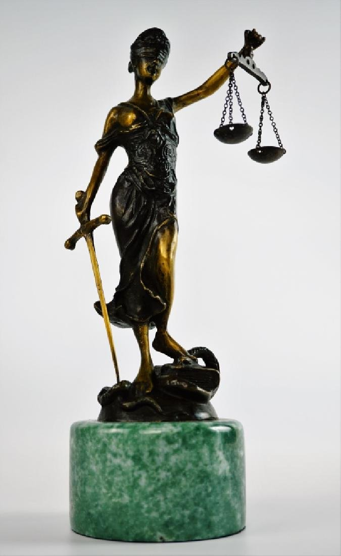 BRONZE LADY JUSTICE STATUE WITH MARBLE PLINTH - 4