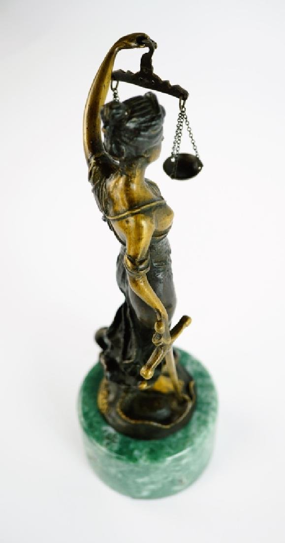 BRONZE LADY JUSTICE STATUE WITH MARBLE PLINTH - 8
