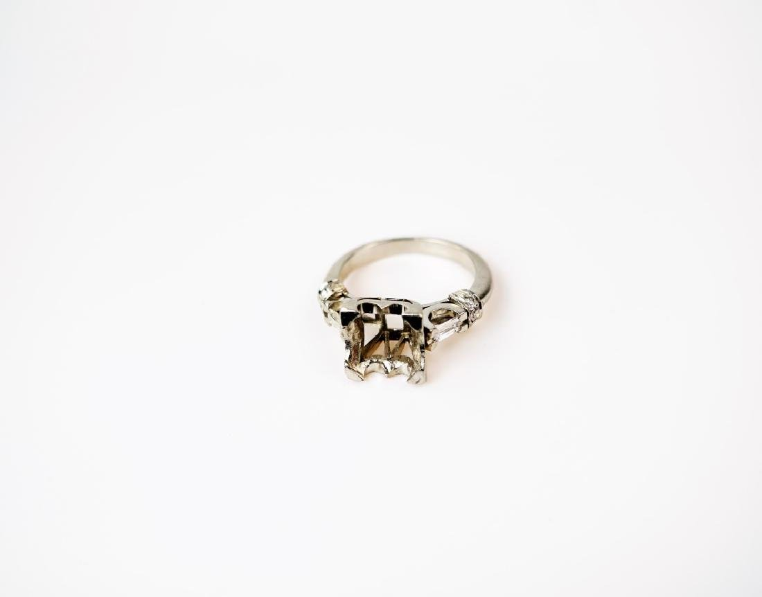PLATINUM AND DIAMOND PEARL RING SETTING