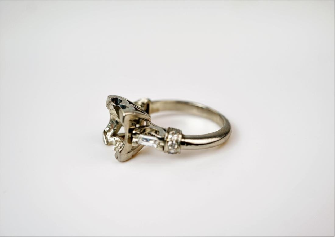 PLATINUM AND DIAMOND PEARL RING SETTING - 4