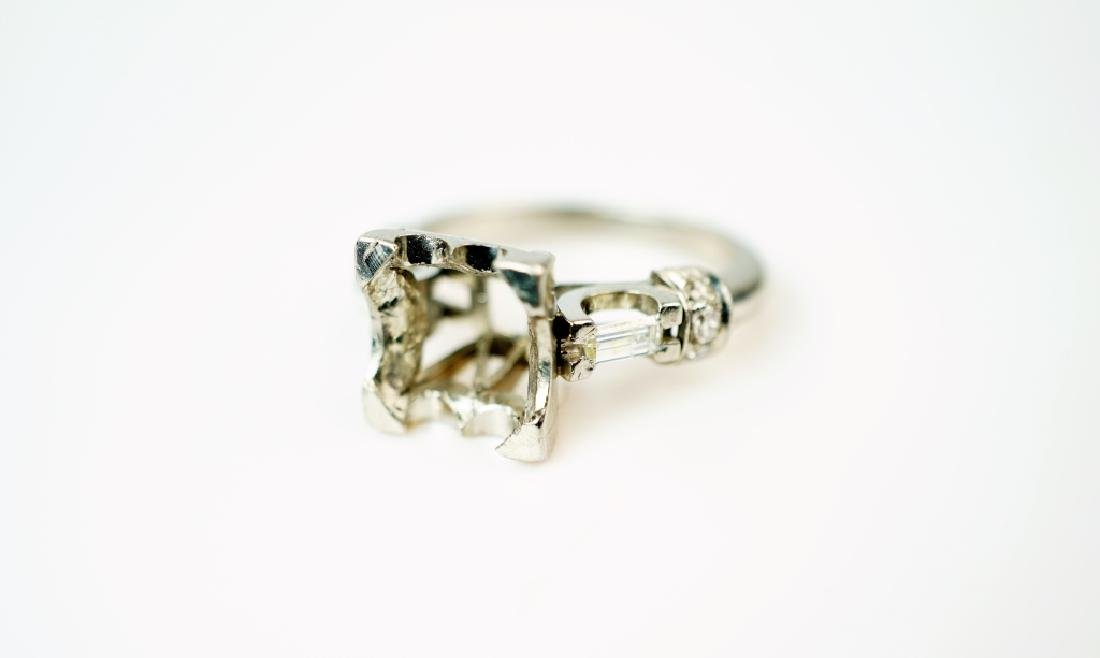 PLATINUM AND DIAMOND PEARL RING SETTING - 5