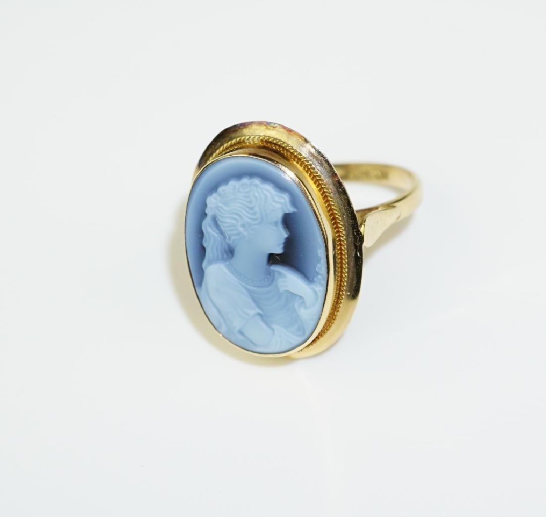 14K YELLOW GOLD AGATE CAMEO RING - 3