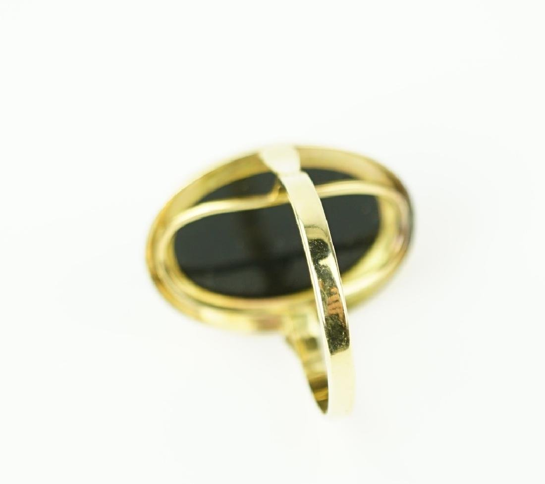 14K YELLOW GOLD AGATE CAMEO RING - 4