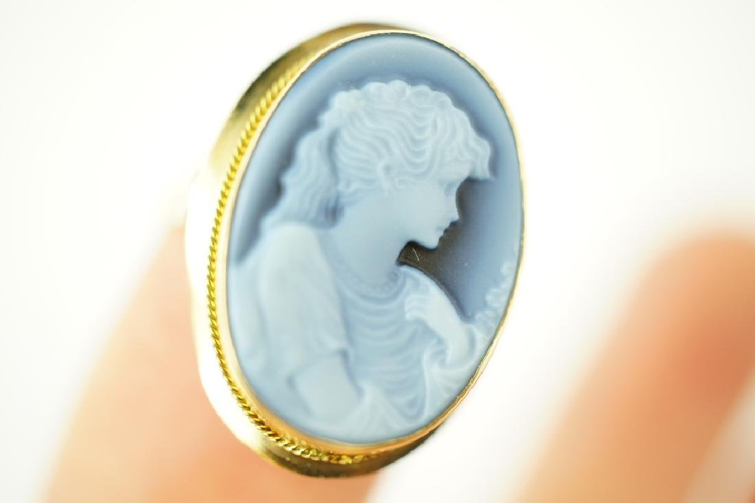 14K YELLOW GOLD AGATE CAMEO RING - 5