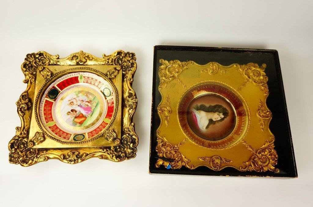 (2) ROYAL VIENNA PORTRAIT CABINET PLATES - 2