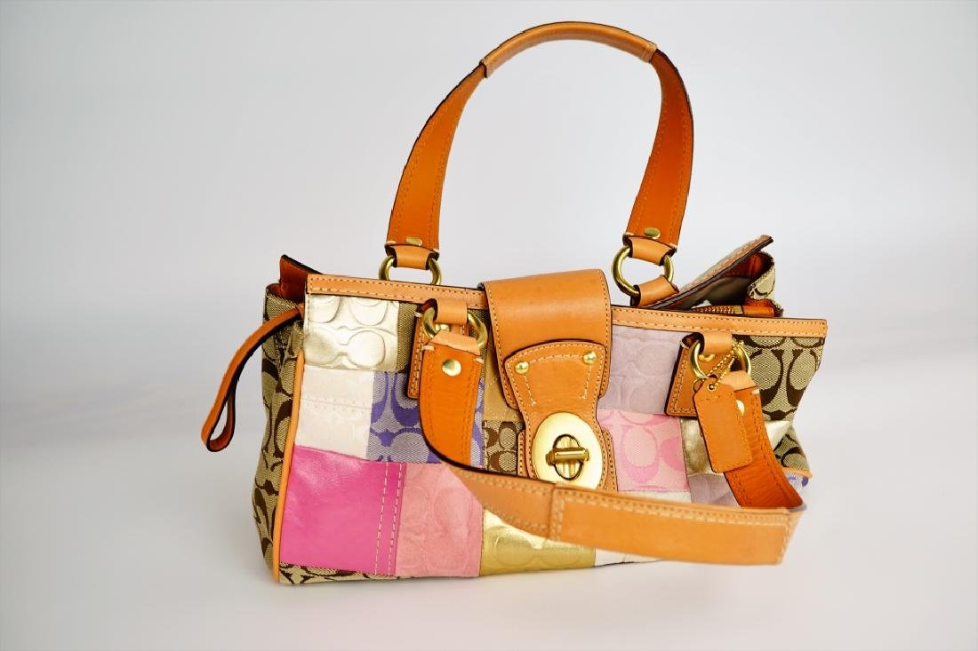 PATCHWORK COACH SHOULDER HANDBAG