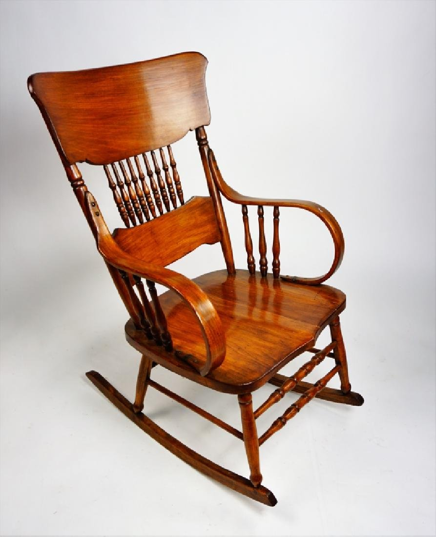 MIXED WOOD PLANK SEAT ROCKING CHAIR