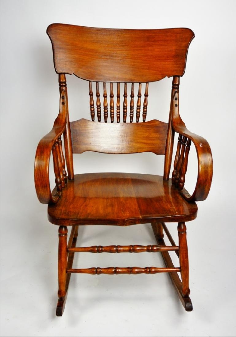 MIXED WOOD PLANK SEAT ROCKING CHAIR - 2