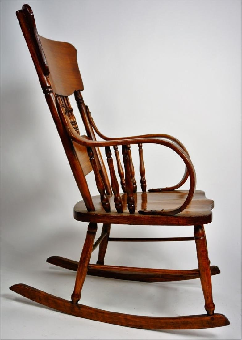 MIXED WOOD PLANK SEAT ROCKING CHAIR - 3