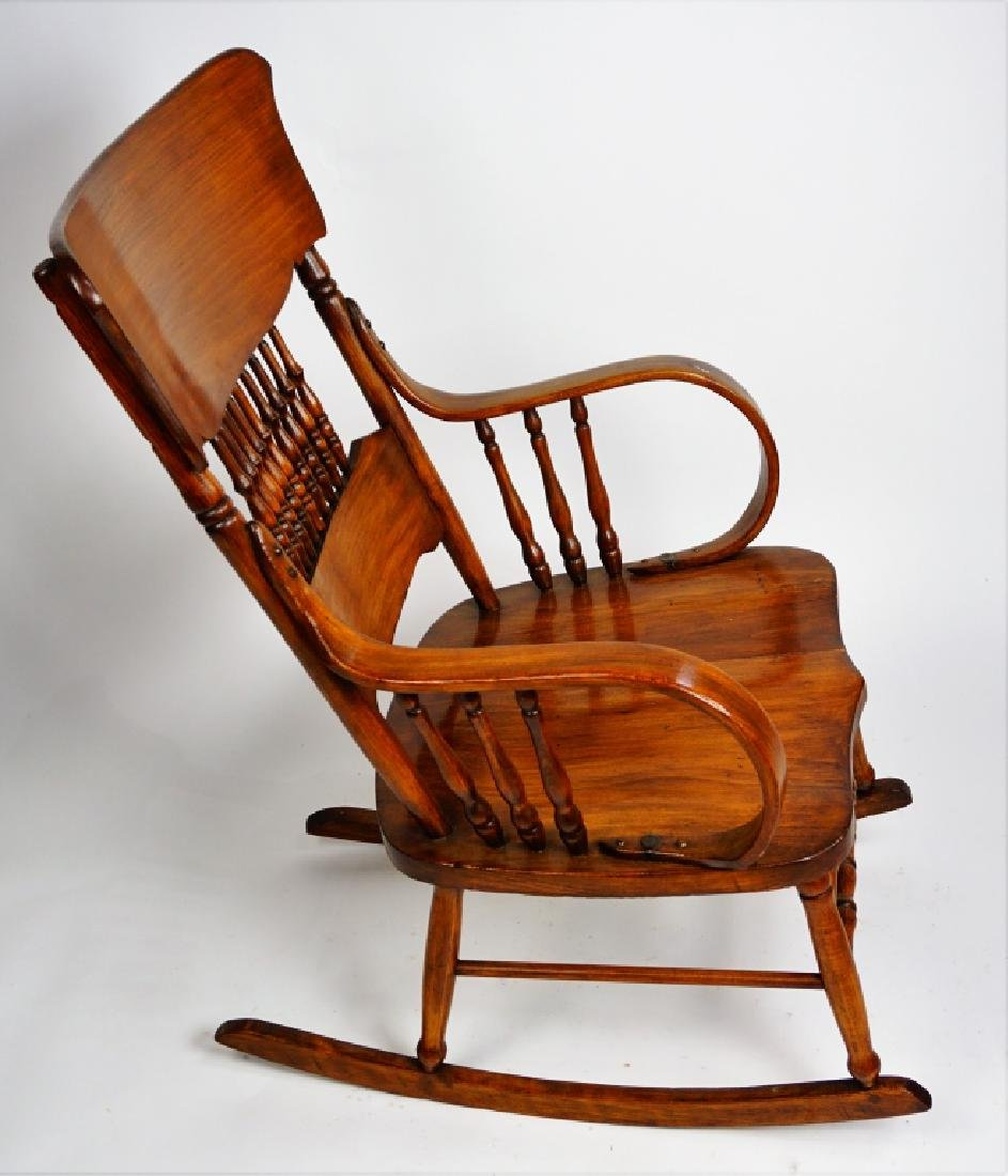 MIXED WOOD PLANK SEAT ROCKING CHAIR - 4