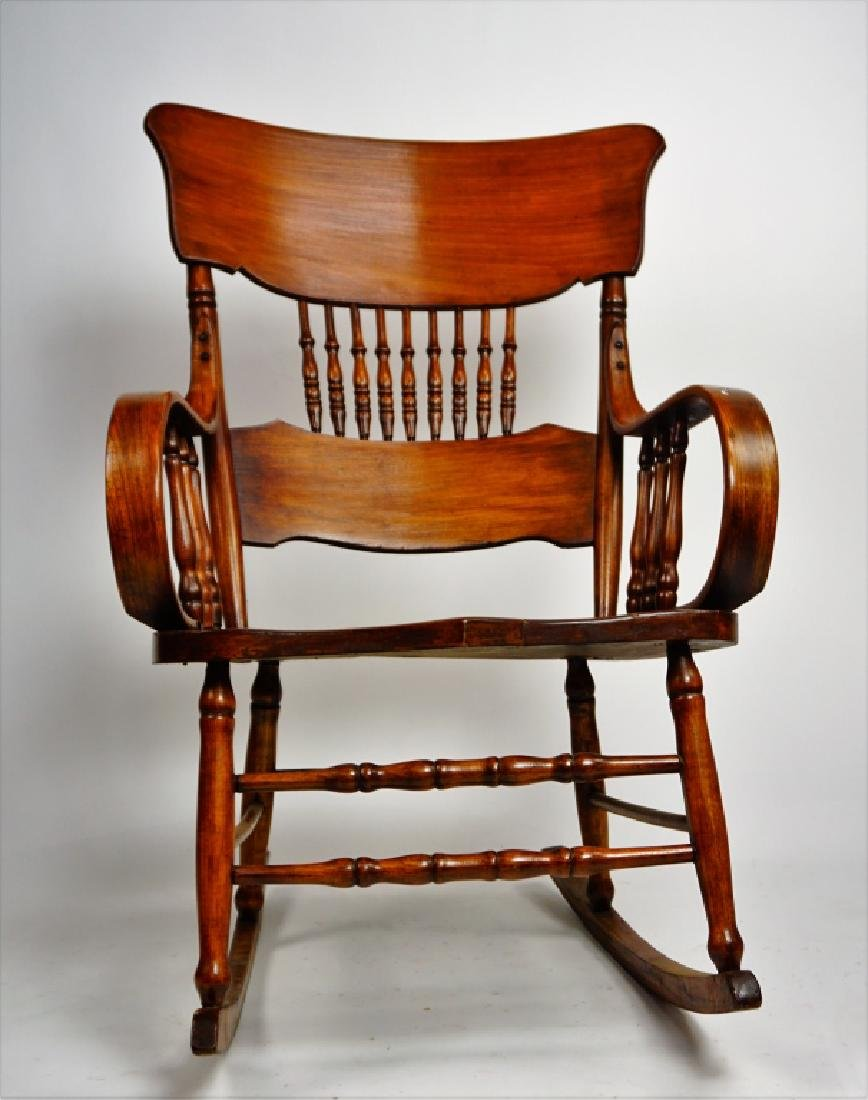 MIXED WOOD PLANK SEAT ROCKING CHAIR - 5
