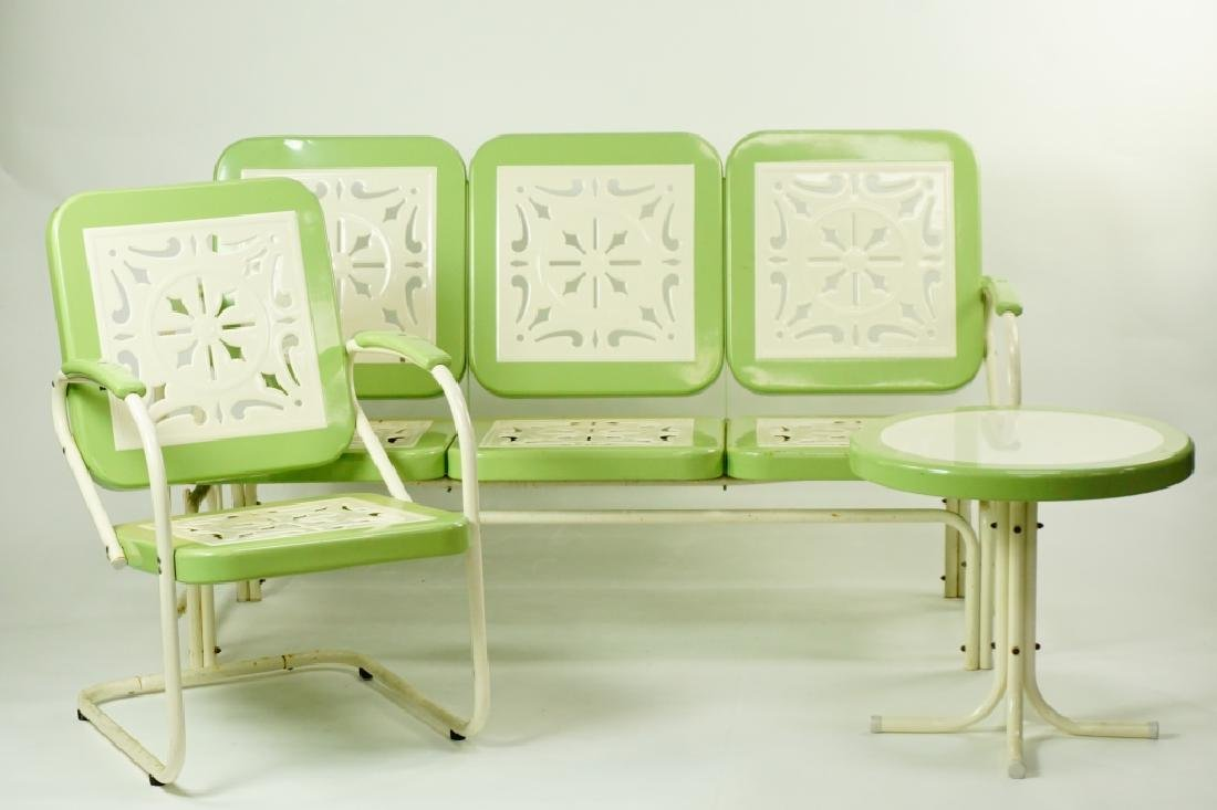 3pc RETRO STAMPED METAL OUTDOOR FURNITURE