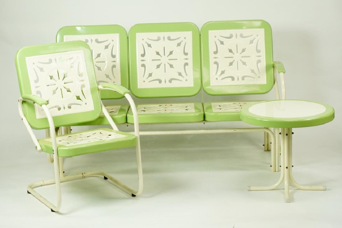 3pc RETRO STAMPED METAL OUTDOOR FURNITURE - 4