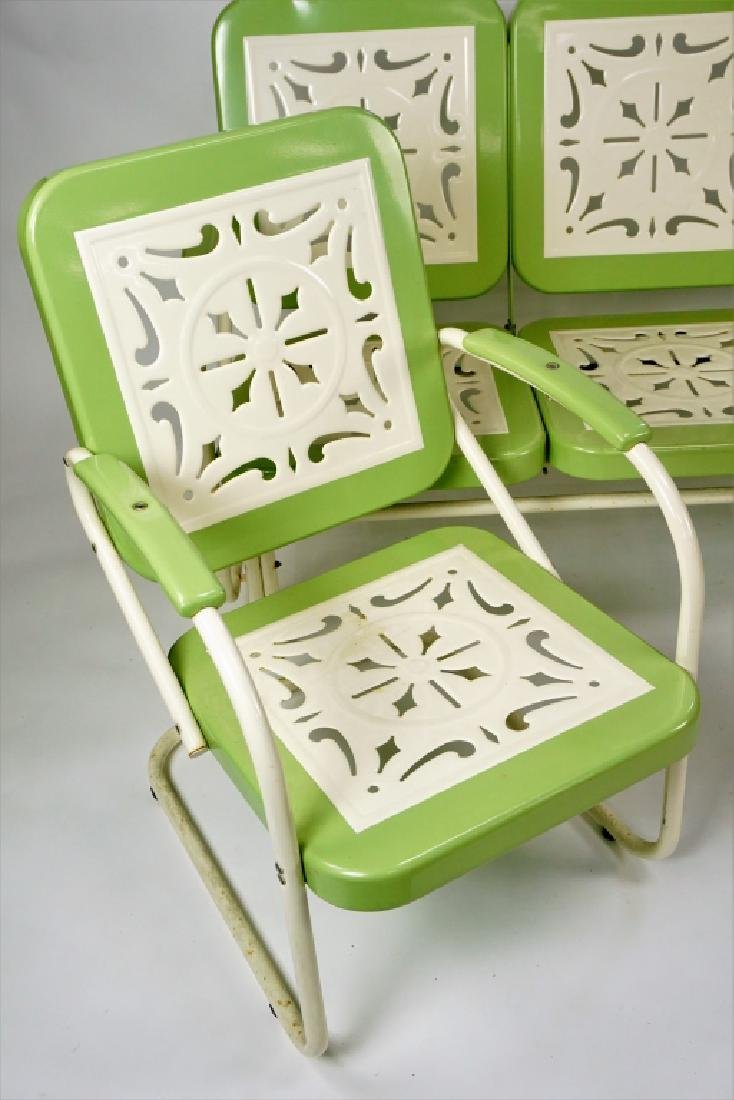 3pc RETRO STAMPED METAL OUTDOOR FURNITURE - 5