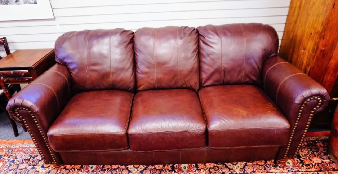 BURGANDY LEATHER 3-SEAT SOFA BY LANE