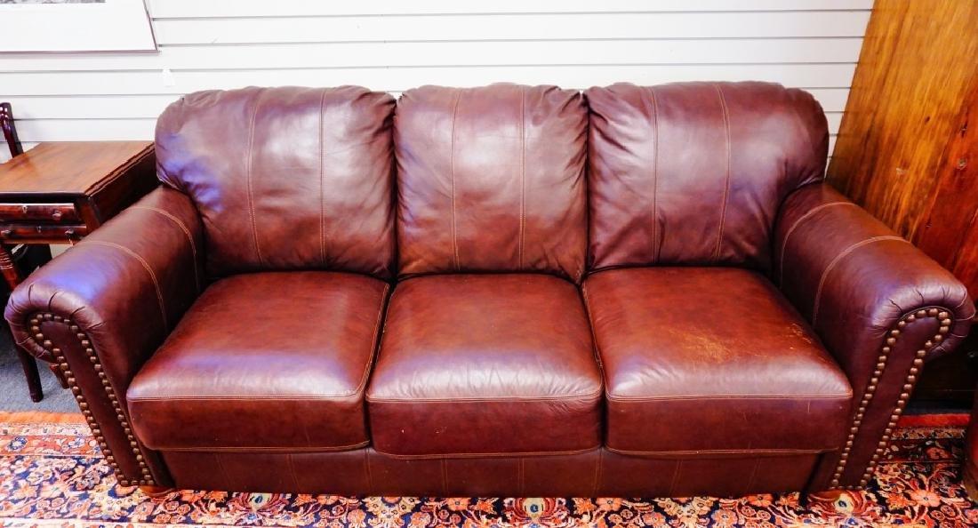 BURGANDY LEATHER 3-SEAT SOFA BY LANE - 4