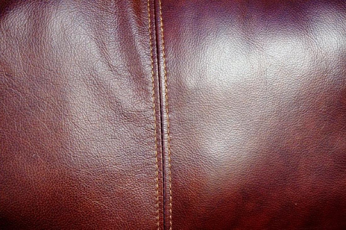 BURGANDY LEATHER 3-SEAT SOFA BY LANE - 5