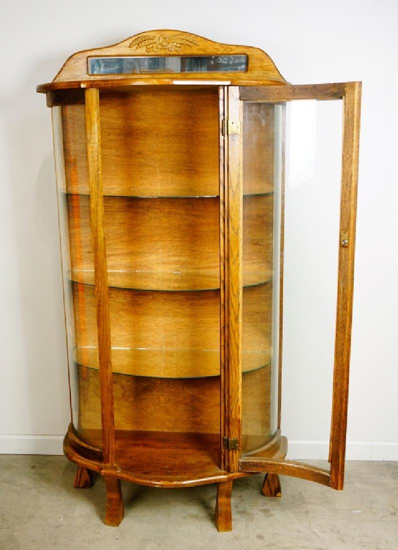 OAK COVERED GLASS DISPLAY CABINET